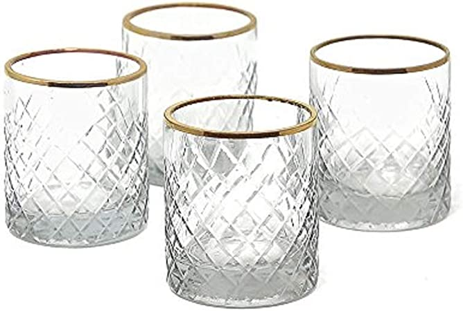 Serene Spaces Living Set Of 4 Etched Squares Glass Votive Holders With Gold Rim Ideal For Wedding Decorations Parties Events Measures 3 Tall And 2 5 Diameter Home Kitchen Amazon Com