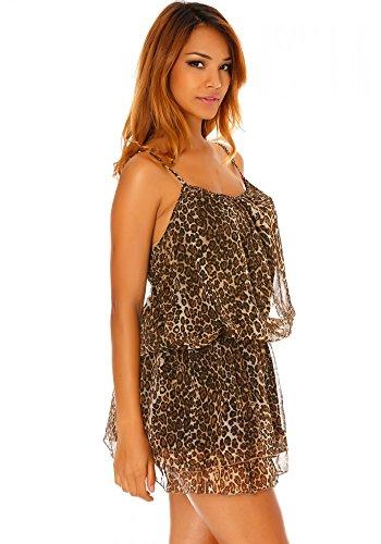 dmarkevous - Jolie robe imprimée léopard beige et marron - Unique, marron