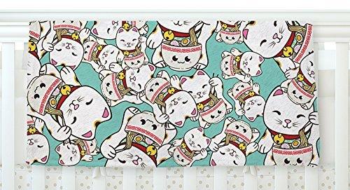 KESS InHouse Juan Paolo Ramen Cats Teal White Fleece Baby Blanket 40 x 30 [並行輸入品]   B0785Q39R2