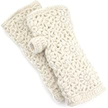 Knit Wool Open Finger Mittens Gloves With Fleece Lining - Ivory Cream