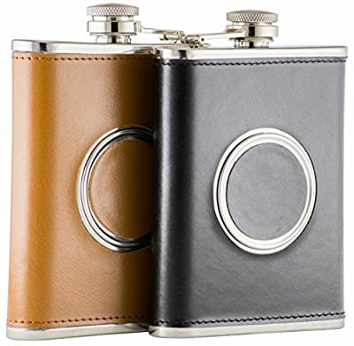 8 Oz. 304 Stainless Steel, Leather Hip Flask, Shot Flask with Built-in Collapsible 2 Oz. Shot Cup, Bonus Stainless Steel Funnel and Money Clip by Bold Brands