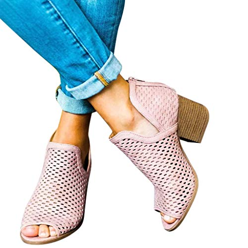 (Malbaba Booties for Womens Chunky Perforated Low Heel Peep Open Toe Ankle V Cut Block Back Zipper Boots Pink)