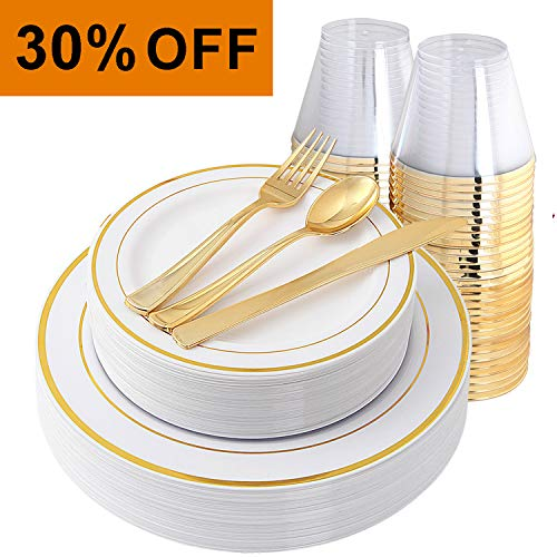 IOOOOO Gold Plates & Plastic Silverware & Gold Cups, Disposable Dinnerware 150 Pieces Includes: 25 Dinner Plates, 25 Dessert Plates, 25 Tumblers, 25 Forks, 25 Knives, 25 Spoons