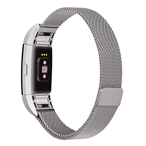 Fitbit Charge 2 Band, ALNBO Milanese Mesh Loop Stainless Steel Replacement Bracelet Strap with Strong Magnet Lock, Silver