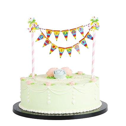 Amazon LVEUD Mini Happy Birthday Cake Topper Banner Colorful