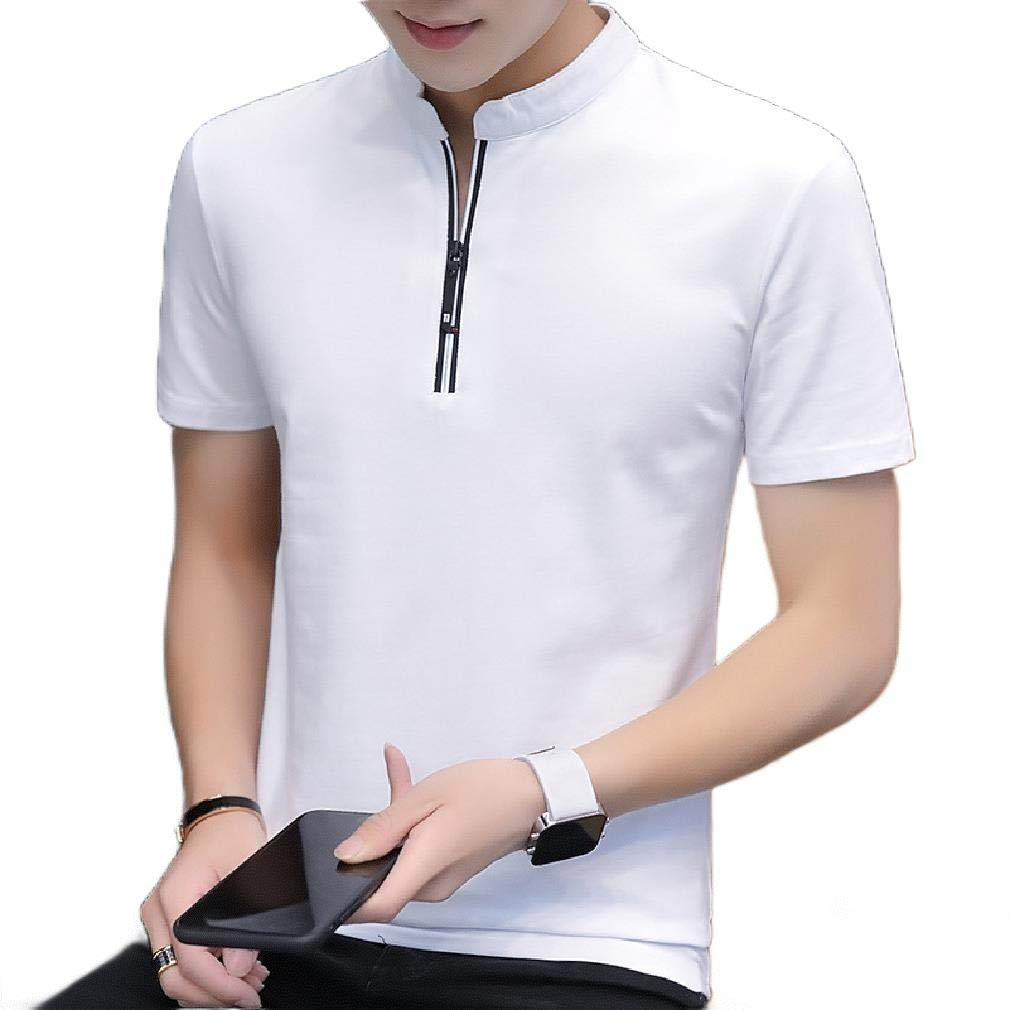 Comaba Mens Stand-up Collar Solid Colored Short-Sleeve Full-Zip Shirts