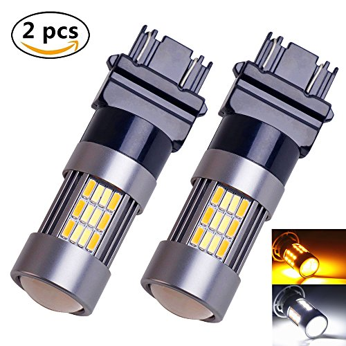 2 × 3157 4014 LED Bulbs LABBYWAY DC9v-30v Constant Currentv 62-EX Chipsets 3056 3156 3057 3157 Dual Color White Amber Extremely Lamps Replacement for Turn Signal Light Corner Light and Blinker Light (Corner Passat Amber)