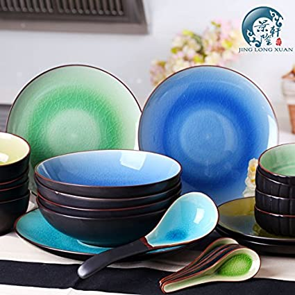 China Ceramic Japanese Style Dinnerware Sets of 22 for 4 Crackle Glaze Porcelain Plate Microwave Oven & Amazon.com | China Ceramic Japanese Style Dinnerware Sets of 22 for ...