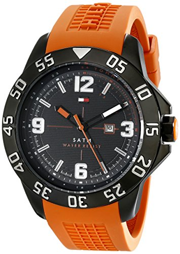 (Tommy Hilfiger Men's 1790985 Cool Sport Black Ion-Plated Watch with Orange Silicone Band)