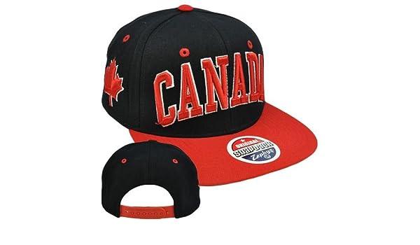 973b3758dba Original Zephyr Snapback Canada Canadian Maple Leaf Black Red Flat Bill Hat  Cap  Amazon.ca  Clothing   Accessories