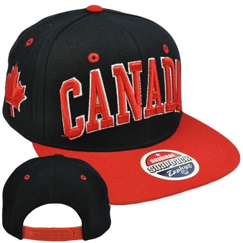 Original Zephyr Snapback Canada Canadian Maple Leaf Black Red Flat Bill Hat  Cap  Amazon.ca  Clothing   Accessories c288aefa18a