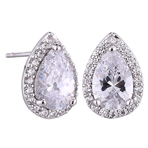 AMYJANE Wedding Jewelry Set for Bridesmaids - Sterling Silver Teardrop Cubic Zirconia Halo Earrings and Pendant Necklace Clear Crystal Jewelry Set for Women by AMYJANE (Image #2)