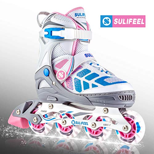 - Sulifeel Girls Fly-Woven Upper Pink Blue Adjustable Inline Roller Skates with Light up Wheels, Fun Roller Blading for Kids - Large(4-7)