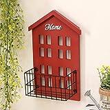 Rack shelf Retro House Iron Flower Racks Home Wall Hangings Shelf Living Room Balcony Pendant Creative Woodiness Gift ( Color : Red , Size : A )