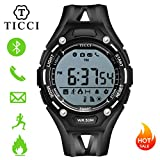 T0006 Electronic Fitness Tracker Digital Sports Bluetooth Smart Watch Waterproof Pedometer Remote Camera Incoming Call or Message Alert Reminder for iOS & Android Smartwatch Men & Boys (Black Strap) For Sale
