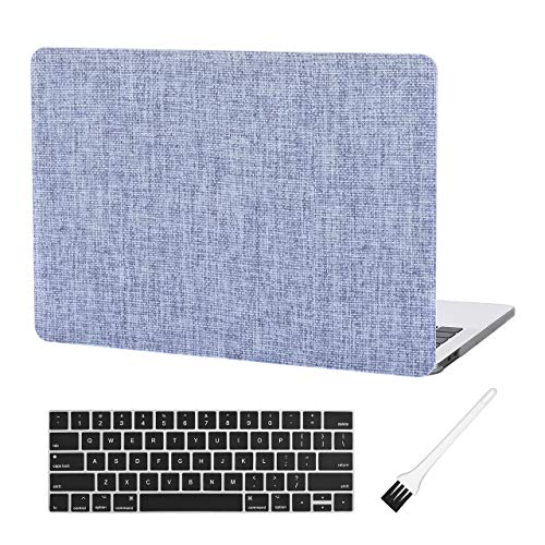 Case Star MacBook Pro 13 Inch Case 2020 2019 2018 2017 2016 Release A1706 A1708 A1989 A2159 Ultra Thin Plastic Hard Sleeve Cover & Keyboard Cover & Anti-dust Brush (Blue Fabric Texture)