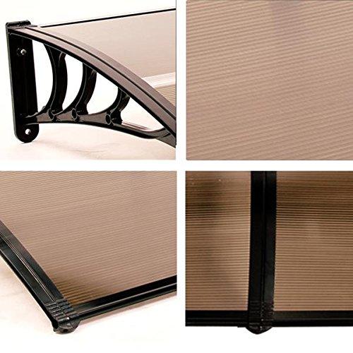 MCombo 39''×116''/39''x 78'' Window Overhead Door Awning Patio Outdoor Polycarbonate Cover Front Door Rain Sun Shetter Garden Canopy Hollow Sheet (40''x120'', Dark Brown Canopy/Black Bracket) by MCombo (Image #2)