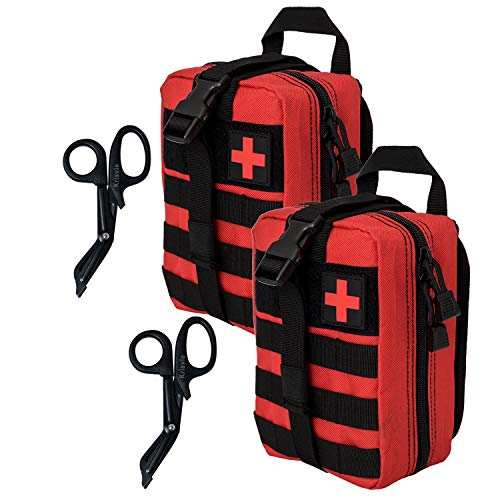 (Krisvie Tactical EMT Medical Pouch 1000D Nylon Utility Bag with First Aid Patch and Shear (Rip-Red1 2Pack))