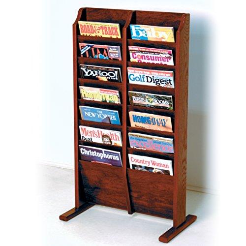 - Wooden Mallet 14-Pocket Cascade Free-Standing Magazine Rack, Mahogany