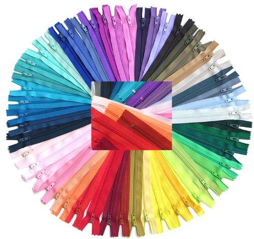 """Zipperstop Wholesale YKK® Sale 4"""", 5"""", 6"""" and 7"""" Assorted Zipper YKK #3 Skirt & Dress Zips (100 Zippers/pack)."""