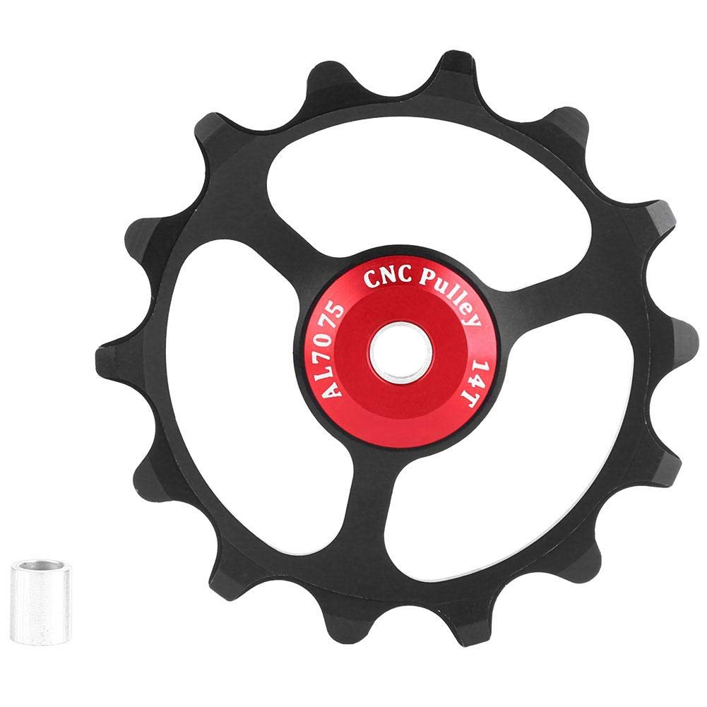 VGEBY1 Bike Rear Derailleur Pulley, GUB Lightweight Bicycle Guide Wheel 14T Ceramic Bearing Pulley(Black)