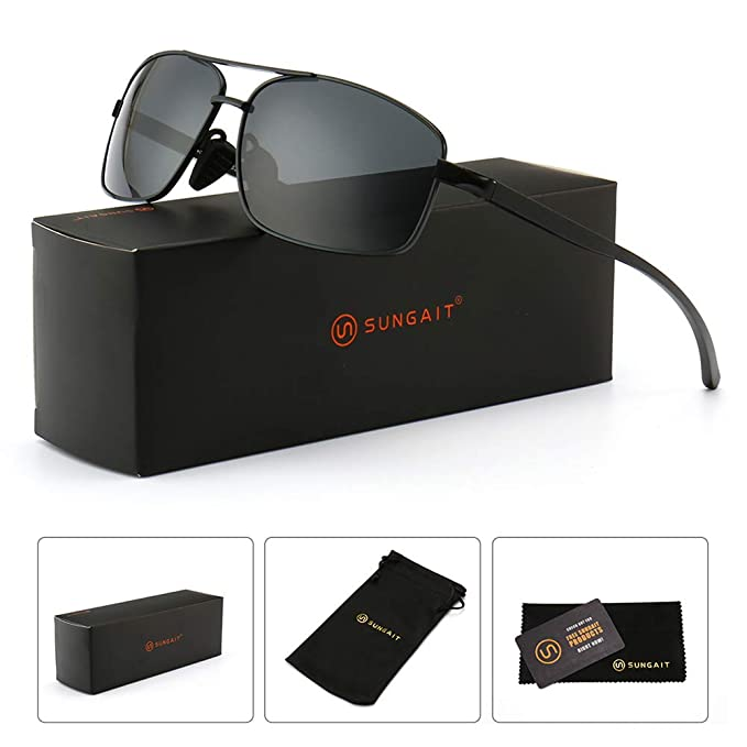 SUNGAIT Ultra Lightweight Rectangular Polarized Sunglasses 100% UV  protection (Black Frame Gray Lens,