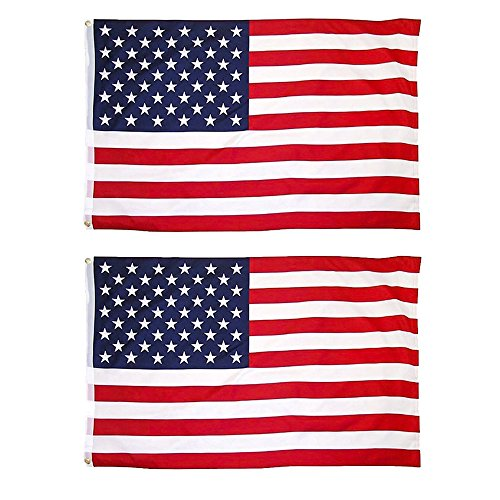 JUNZENIA 2-Pack American Flag Combo 3x5 Ft USA Printed Stars and Stripes Banner