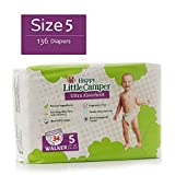 Happy Little Camper Ultra Absorbent Hypoallergenic Natural Diapers, Size 5 (+27 lbs), 136 Count, Monthly Supply Bulk Pack