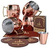 Krown Kitchen - Hammered Moscow Mule Copper Mug 4 Pack | Stainless Steel Lining | 16 oz