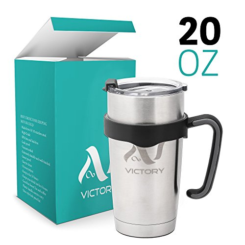 Best Travel mug Stainless Steel Tumbler 20 oz Double Wall Tumbler Vacuum Insulated Cup with Lid & Holder - Sweat Free Durable Stainless Thermos & Cooler - Best for Travelling and Everyday Use