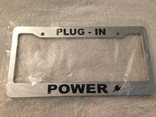 Plug In Power   Automotive Chrome License Plate Frame   Electric Car Love