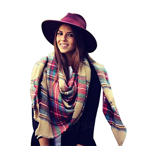 Moxeay Women Blanket Oversized Tartan Scarf Wrap Shawl Plaid Cozy Checked Pashmina (M820)