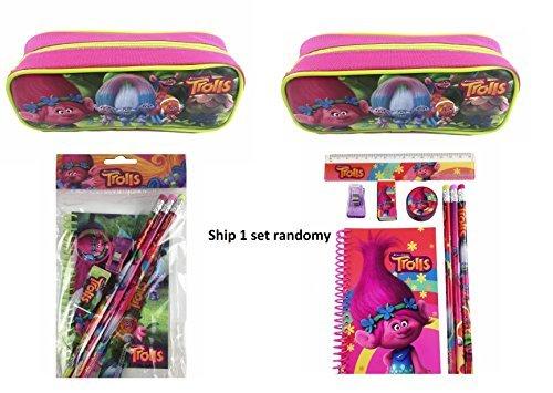 Dreamworks Trolls School Stationery Set With Pouch Pencil Case