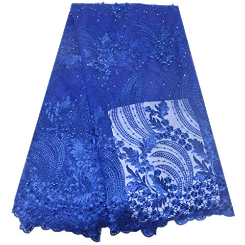 (Lacerain African Lace Fabric 5 Yards Nigerian French Net Lace Fabrics Material Embroidery for Party Wedding Dress Skirt (Blue))