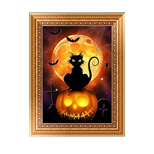 (certainPL DIY 5D Diamond Painting by Number Kits, Crystal Rhinestone Diamond Embroidery Paintings Pictures Arts Craft for Home Wall Decor, Partial Drill, Halloween Style (C,)