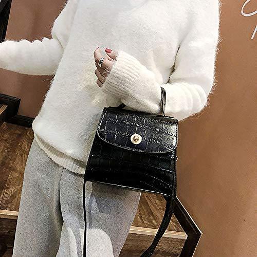 Retro Grieta Mujer Tirantes Monedero Cuero Baratos Pequeños Sylar Negro Sólido Con Bolsa Mensajero Bolso Brillante Bandolera Pu De color Mano wUPfnxA5q