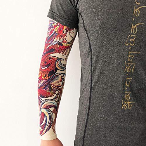 Ffooxxii Flower arm sleeve sunscreen sleeves ice silk men's female tattoo seamless summer tide riding ice hand sleeve arm guard arm sleeve@One size_YD-119