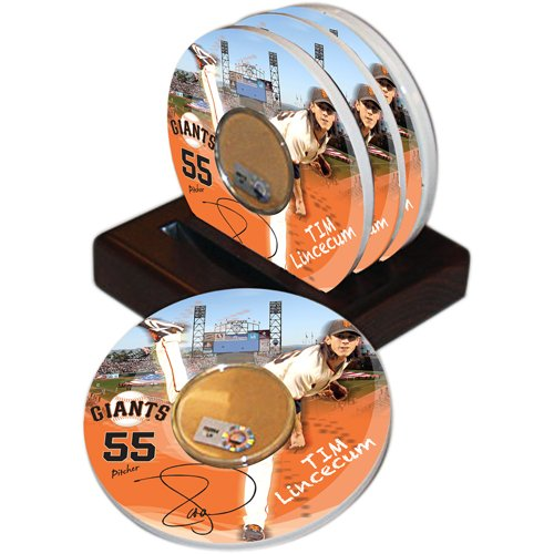 MLB San Francisco Giants Steiner Sports Tim Lincecum Player Coaster w/ Game Used Dirt (Set of 4) (Giants Francisco Coaster San)