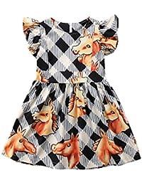 Baby Girl Princess Dress Horses Play Plaid Dress Flutter Sleeve Check Skirt Sundress Outfits Clothes