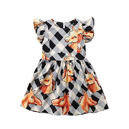 ITFABS Baby Girl Princess Dress Horses Play Plaid Dress Flutter Sleeve Check Skirt Sundress Outfits Clothes (Black White Yellow, 120(3-4T))