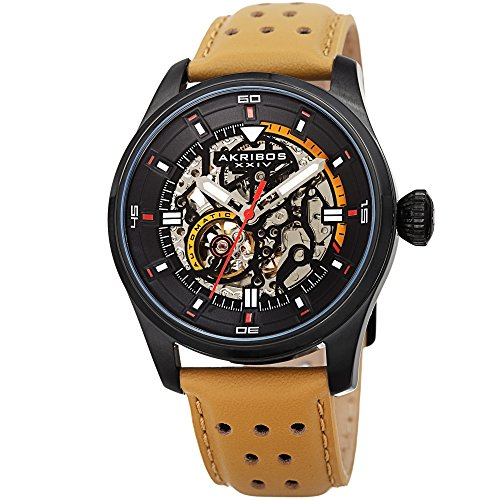 Father's Day Gift - Akribos Automatic Mechanical Skeleton Watch - Crocodile Embossed Genuine Leather Strap - Automatic Mechanical Skeletonized Wristwatch See Through Dial - AK1020 (Tan)