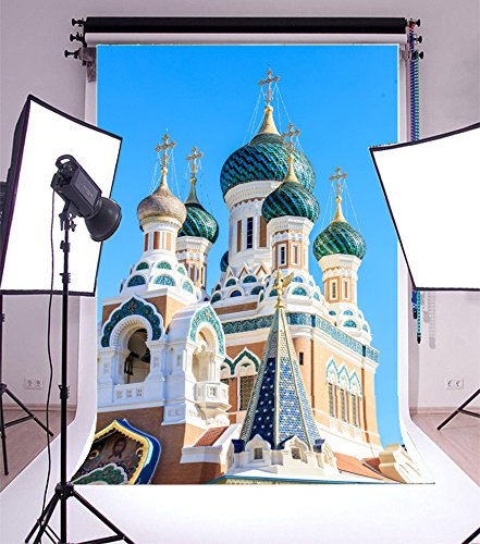 Laeacco 5x7FT Vinyl Backdrop Photography Background Ditail Russian Orthodox Cathedral Nice France Closeup Scene Elegant Castle Blue Sky Wedding Backdrop Adults Portraits Backdrop Photo Studio Prop (Halloween Parties Nice France)