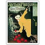 """La Victoria Arduino- Cafe Espresso; Art Nouveau Vintage advertising poster for Italian Coffee Company; Belle Époque, Art Nouveau; Vintage Italian advertising poster; """"Les Maitres de l'Affiche"""", Art Deco by Leonetto Cappiello c.1890 - Master Art Print - 9in x 12in"""
