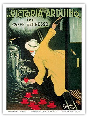 "La Victoria Arduino- Cafe Espresso; Art Nouveau Vintage advertising poster for Italian Coffee Company; Belle Époque, Art Nouveau; Vintage Italian advertising poster; ""Les Maitres de l'Affiche"", Art Deco by Leonetto Cappiello c.1890 - Master Art Print - 9in x 12in (Vintage Coffee Posters)"