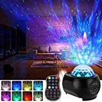LED Sternenhimmel Projektor, Qomolo Projektionslampe Nachtlichter Starry Stern Mond/Rotierende Wasserwellen/Bluetooth...