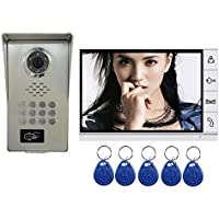 AMOCAM Video Door Phone System,Full Aluminum Alloy Waterproof IR Night Vision Camera, 9 LCD Monitor, Wired Video Intercom Doorbell Kits, Support RFID Keyfobs,Password Unlock
