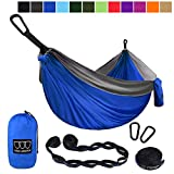 Gold Armour Camping Hammock - Extra Large Double Parachute Hammock (2 Tree Straps 16 Loops/10 ft Included) USA Brand Lightweight Portable Mens Womens Kids, Camping Accessories Gear (Blue/Gray)