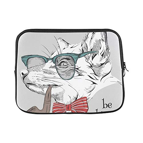 Design Custom Image Portrait Fox Cravat Glasses Tobacco Sleeve Soft Laptop Case Bag Pouch Skin for MacBook Air 11