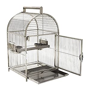 """Pawhut 25"""" Dome Top Stainless Steel Travel Bird Cage 98"""