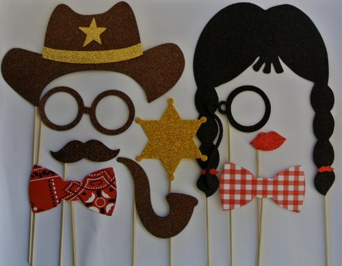 Cowboy Western Photo Booth Party Props Mustache on a Stick Texan Style western -